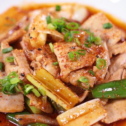 マグロと長ネギ炒め (焼肉のタレ)
