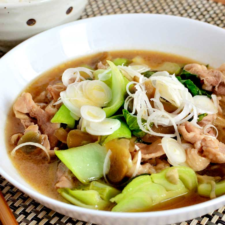 豚肉とチンゲン菜のやわらか中華煮の写真