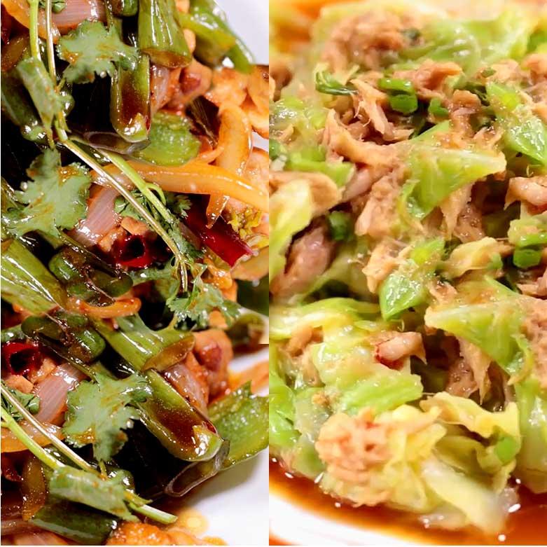 鶏とピーマンのオイスター炒め&キャベツの蒸しツナ和えの写真