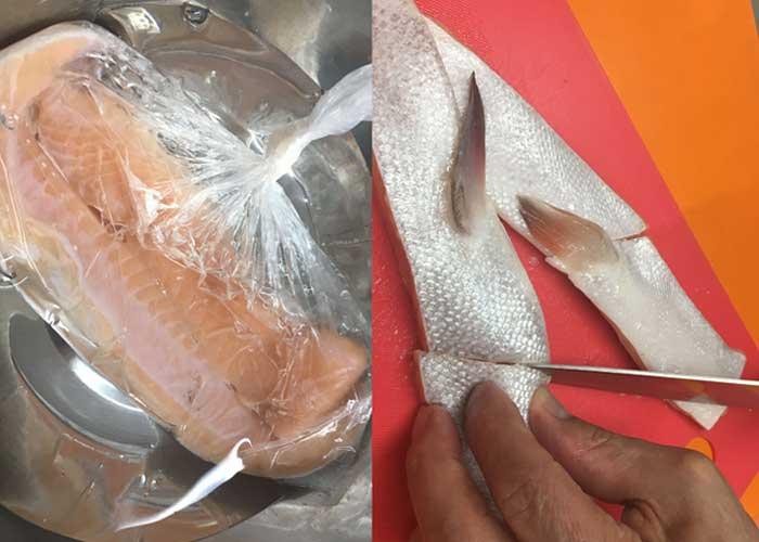 「脂ノリノリで激うま! 鮭ハラスと大根の煮物」の作り方画像 1枚目