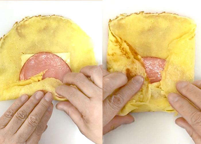 「お弁当やおやつに! やさしい味のハムとチーズのクレープ」の作り方画像 3枚目