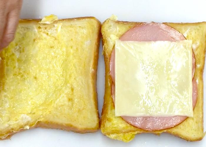 「トロトロ食感でみみまでおいしい♪ ハム&チーズフレンチトースト」の作り方画像 5枚目