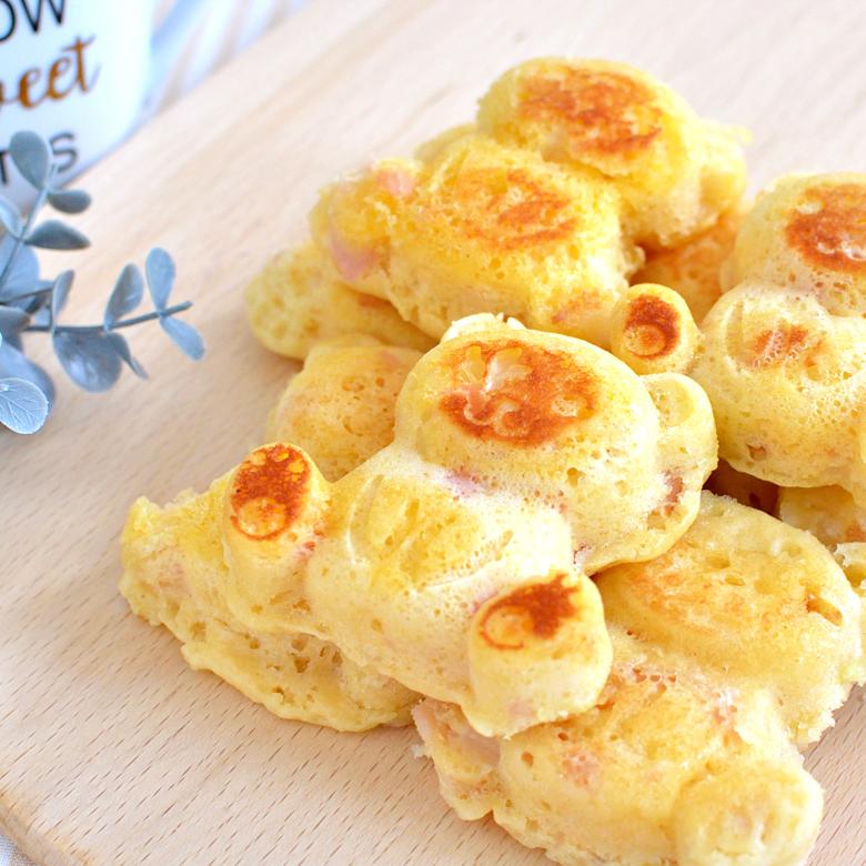 しっとりふわふわ! やさしい甘みのチーズ・ハムワッフルの写真
