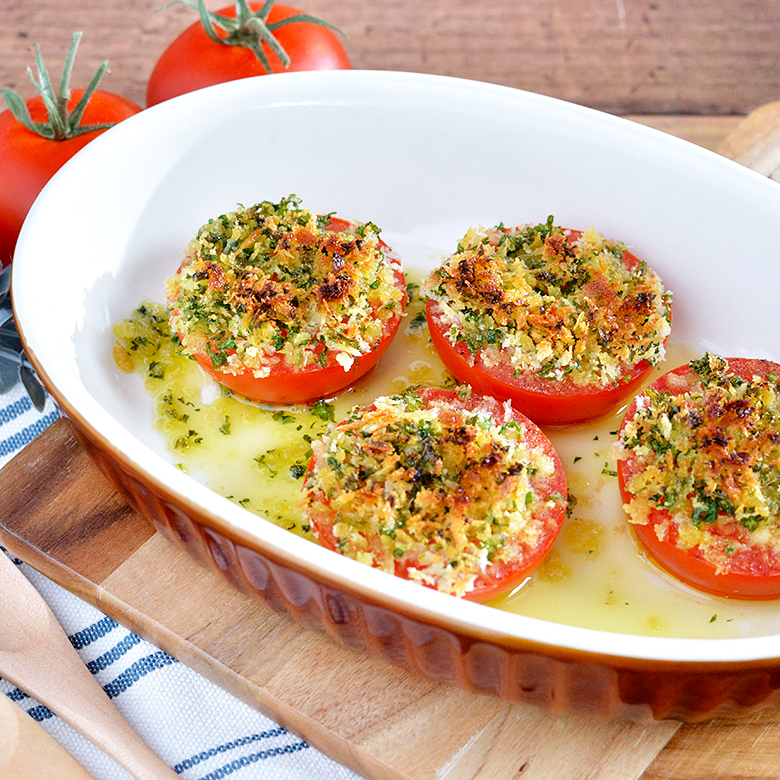 トースターで5分! ジューシートマトのサクサクパン粉焼きの写真