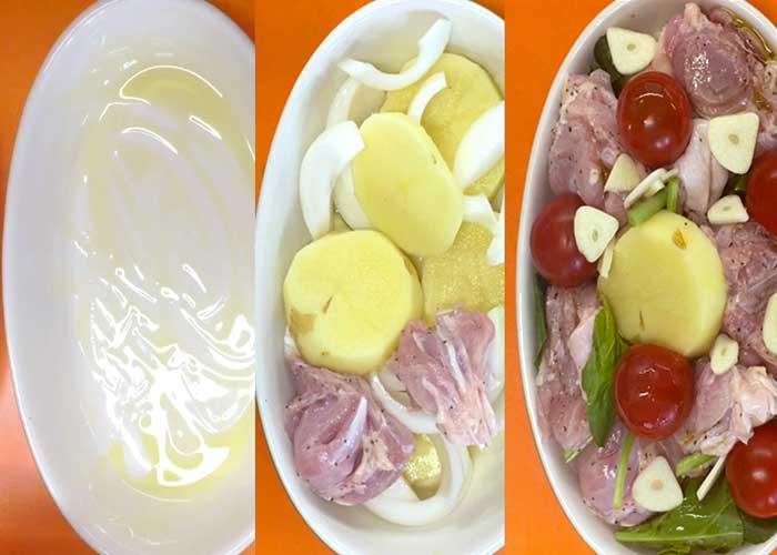 「野菜ぎっしり鮮やか!鶏もも肉のバジルトマト焼き」の作り方画像 4枚目