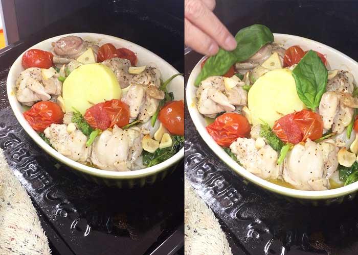 「野菜ぎっしり鮮やか!鶏もも肉のバジルトマト焼き」の作り方画像 6枚目