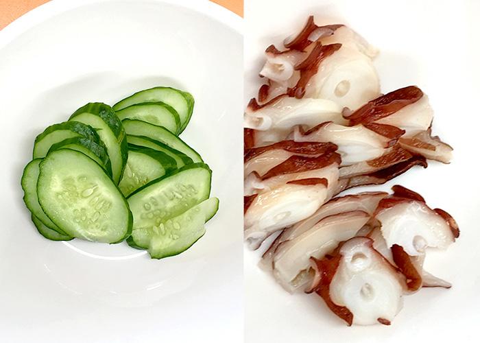 「茎めかぶの食感が楽しい、タコときゅうりの和え物」の作り方画像 1枚目