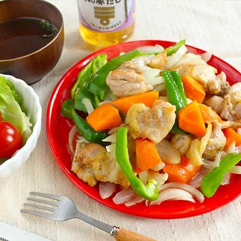 ミツカン カンタン酢「和風だし」で作る、野菜たっぷり鶏もも炒め