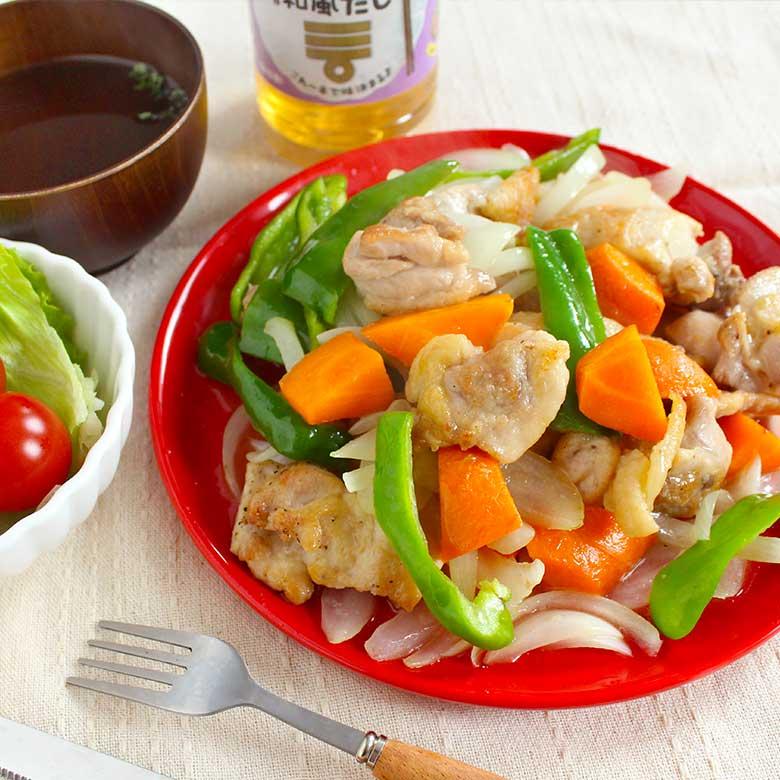 ミツカン カンタン酢「和風だし」で作る、野菜たっぷり鶏もも炒めの写真