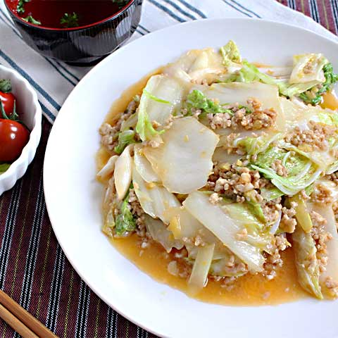 しゃきしゃきトロトロ!鶏ひき肉の麻婆白菜